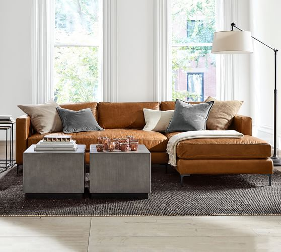 Jake Leather Sofa Chaise Sectional | Pottery Ba