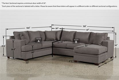 Kerri Charcoal 2 Piece Sectional With Right Arm Facing Chaise .
