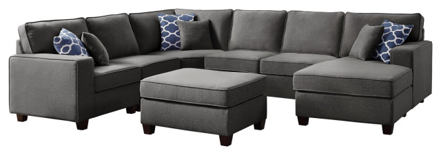 Willowleaf Dark Gray Linen 7Pc Modular Sectional Sofa Chaise and .