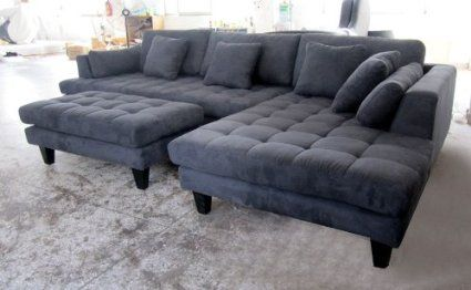 Amazon.com - 3pc New Modern Dark Grey Microfiber Sectional Sofa .