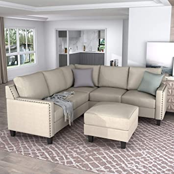 Amazon.com: Merax Sectional Sofa with Chaise Lounge and Ottoman 3 .