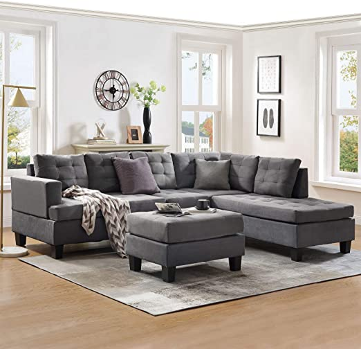 Amazon.com: Sectional Sofa Sets 3-seat with Chaise Lounge and .