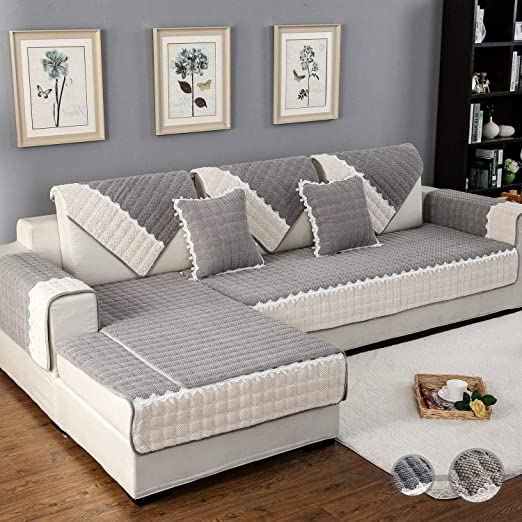 Amazon.com: OstepDecor Couch Cover, Sofa Cover, Quilted Sectional .