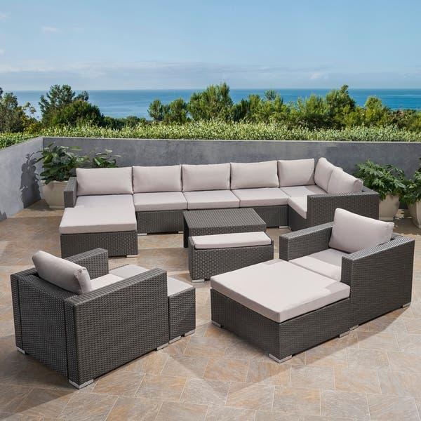 Shop Santa Rosa Outdoor 8 Seater V-Shaped Wicker Sectional Sofa .
