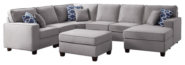 Willowleaf 7Pc Modular Sectional Sofa Chaise Ottoman in Light Gray .