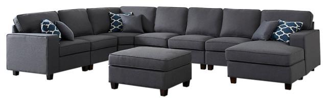 Irma Dark Gray Linen 8Pc Modular Sectional Sofa Chaise and Ottoman .