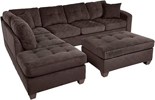 Amazon.com: Homelegance Fabric Sectional Sofa and Ottoman Set .