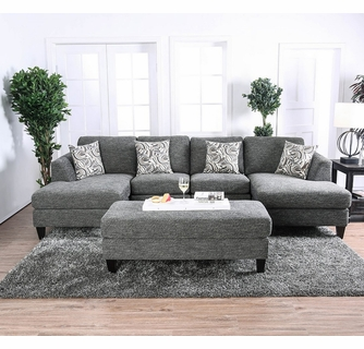 Lowry Gray Chenille Sectional Sofa w/ Ottoman by Furniture of Ameri