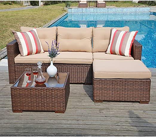 Amazon.com: SUNSITT Outdoor Sectional Sofa 4 Piece Furniture Set .