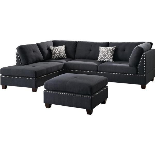 Venetian Worldwide Florence Black Sectional Sofa with Ottoman-VENE .