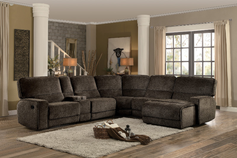 HE-8238-6pcA 6 pc Shreveport brown fabric sectional sofa with .