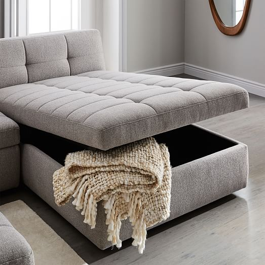 Plateau 3-Piece Storage Chaise Sectional w/ Ottom