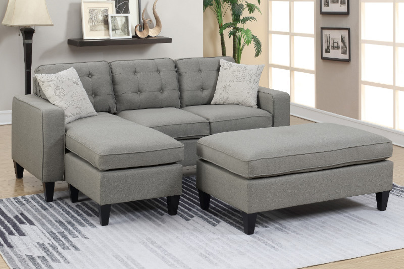 Poundex F6576 2 pc Latitude run gustav daryl light grey linen like .