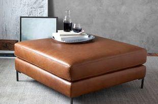 Jake Leather Sectional Ottoman   Pottery Ba