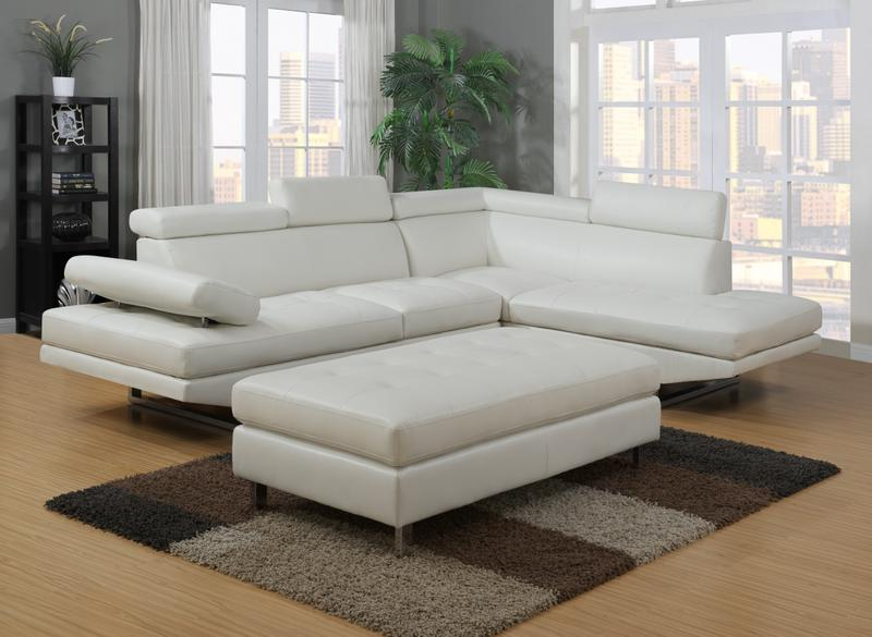 IBIZA LEATHER GEL SECTIONAL AND OTTOMAN SET | Furniture .