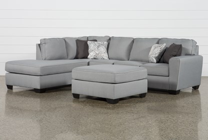 Mcdade Ash Left Arm Facing Sectional With Oversized Accent Ottoman .