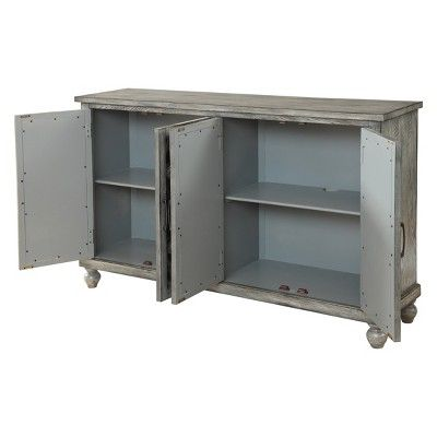 Greta Mirrored 4 Door Media Credenza Gray - Treasure Trove .