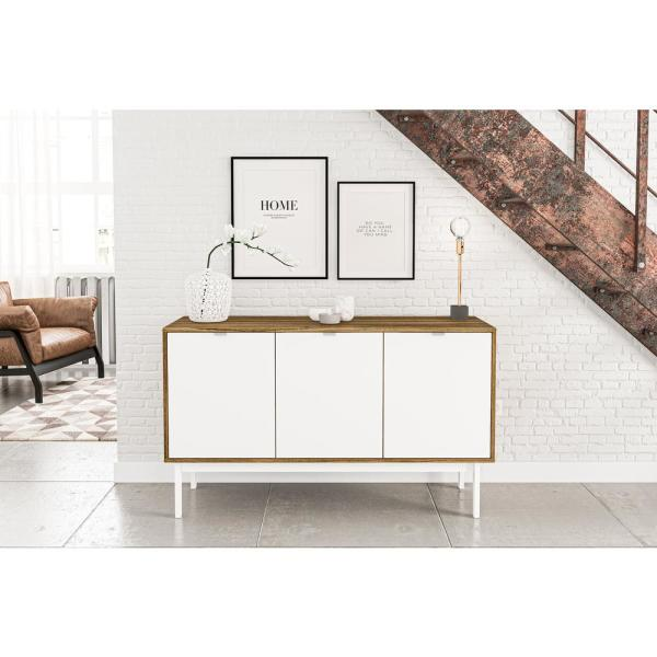 Chique Furniture Sienna Walnut and White Sideboard with 3-Doors .