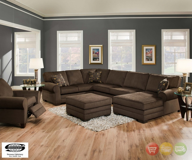 Deluxe Beluga U Shaped Brown Sectional Sofa by Simmo