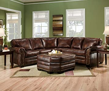 Amazon.com: SIMMONS 9222DN ENCORE BROWN LEATHER SECTIONAL SOFA .