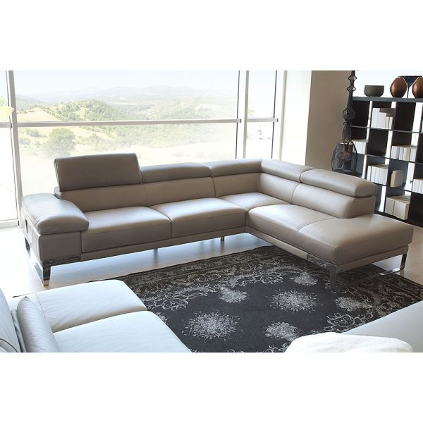 Sleek (Light Grey Leather) Sectional(QUICK SHIP #704833) ITALY .