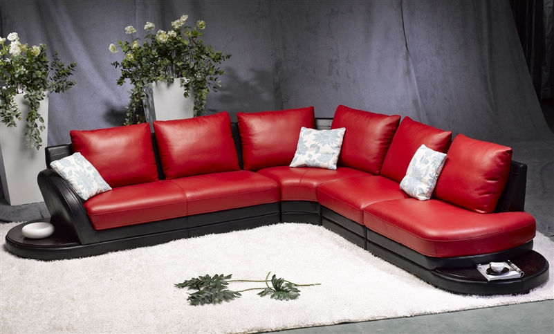 Modern Red/Black Leather Sectional Sofa TOS-FY7