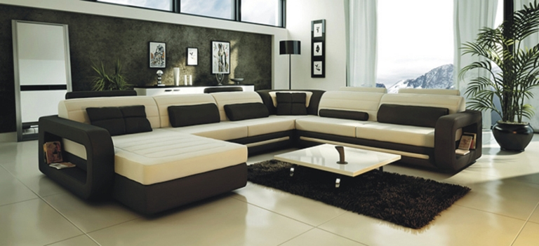 Ultra Modern Cream and Black Leather Sectional Sofa CP-22