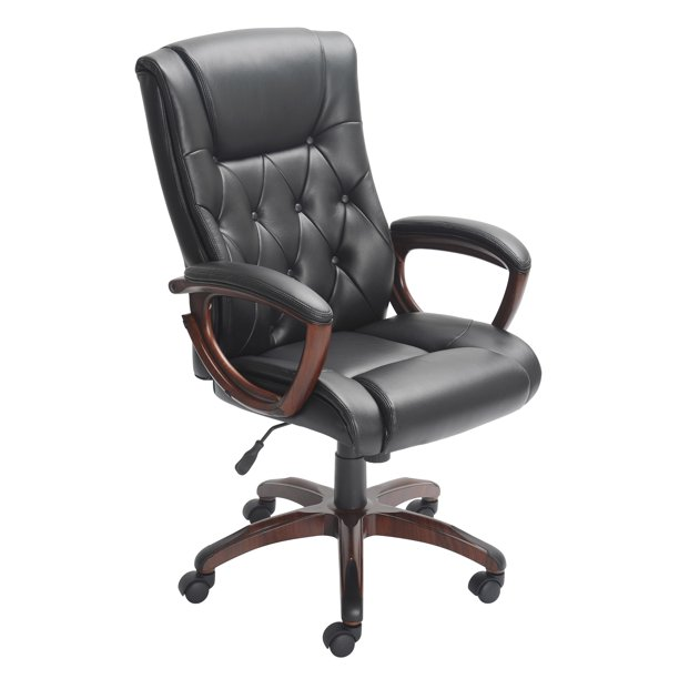 Better Homes and Gardens Bonded Leather Manager's Chair, Black .