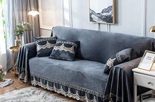 Amazon.com: Plush Sofa Slipcover,1-Piece Vintage Lace Suede Couch .
