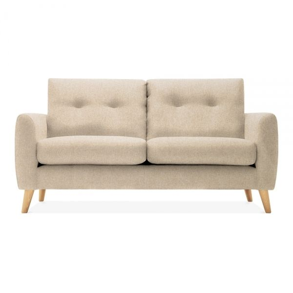 Anderson Small 2 Seater Sofa, Woven Wool, Beige, Leg Natural .
