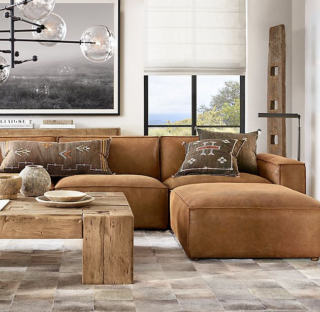 Como Modular Leather End-Of-Sectional Ottoman | Leather couches .