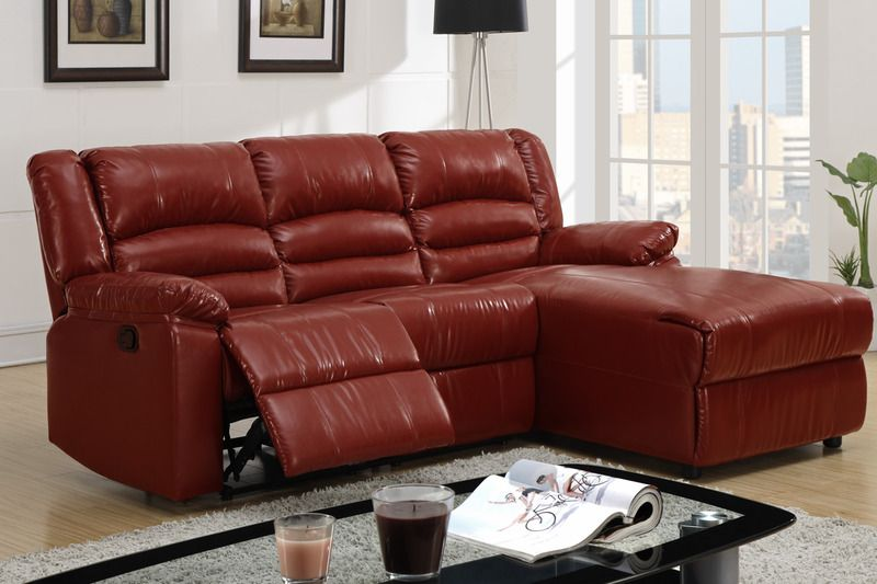 Small Burgundy Leather Reclining Sectional Sofa Recliner Right .