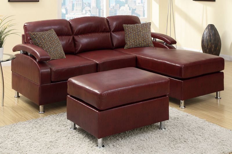 Modern Small Burgundy Leather Sectional Sofa Reversible Chaise .