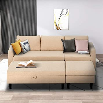 Amazon.com: Esright Small Sectional Sofa with Storage Ottoman and .