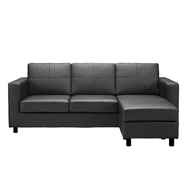 Shop Bonded Leather Small Space Sectional Sofa with Reversible .