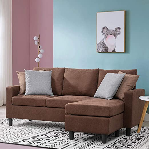 Amazon.com: Walsunny Convertible Sectional Sofa for Small Space, L .