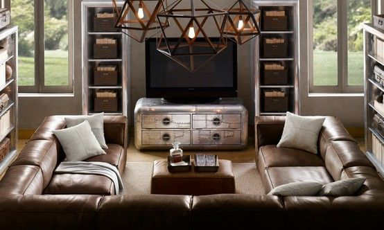 Sectionals For Small Living Rooms - U-shaped Leather Sectional .