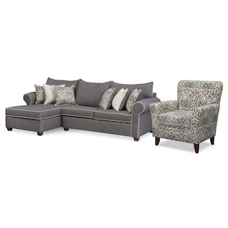 Carla 2-Piece Sectional and Accent Chair Set - Gray | Furniture .