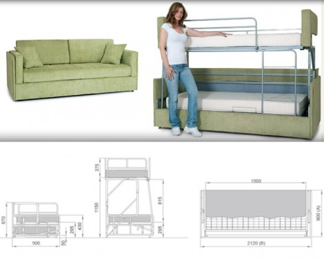 Space-Saving Sleepers: Sofas Convert to Bunk Beds in Seconds .