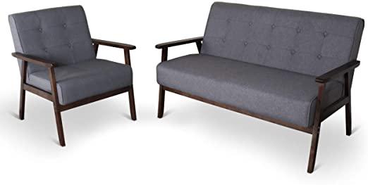 Amazon.com: Mid-Century Retro Modern Living Room Sofa Set with .