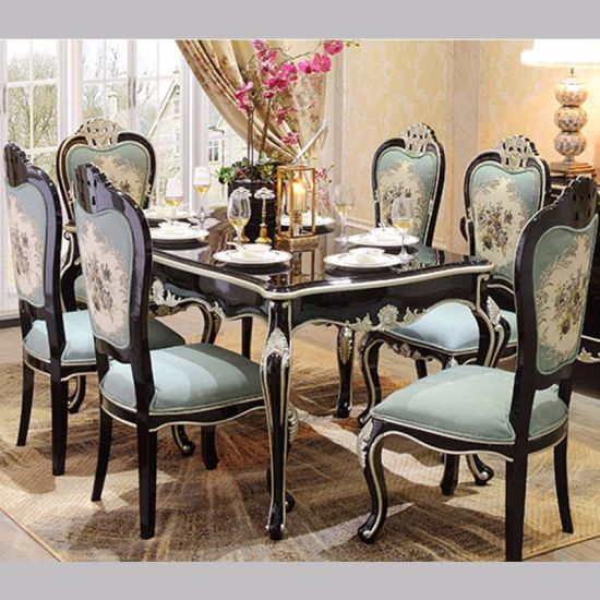 China Wood Dinner Table with Fabric Sofa Chairs for Home Furniture .