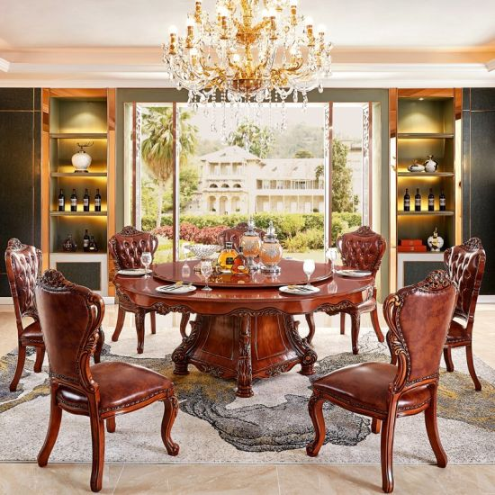 China Round Rotary Dining Table with Wood Sofa Chair for Home .
