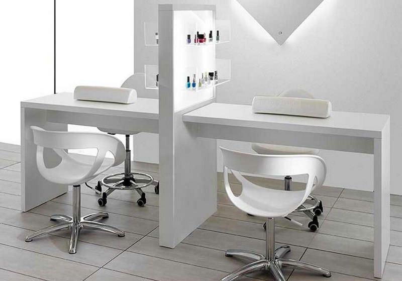 New double white beauty stations nail desks manicure bar tables .