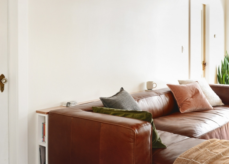DIY Problem Solving: A Slim Behind-the-Sofa Console! - Yellow .