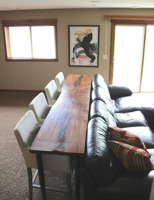 2. Use a console table up against the back of a couch as a dining .