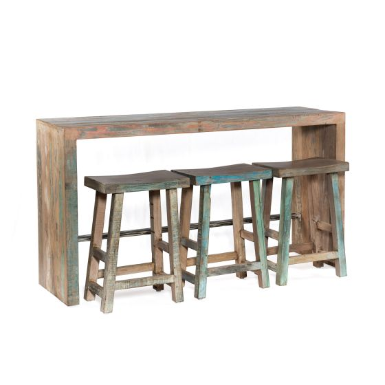 "Ibiza 66"" Reclaimed Wood Sofa Back Console Table with 3 Counter Stoo"