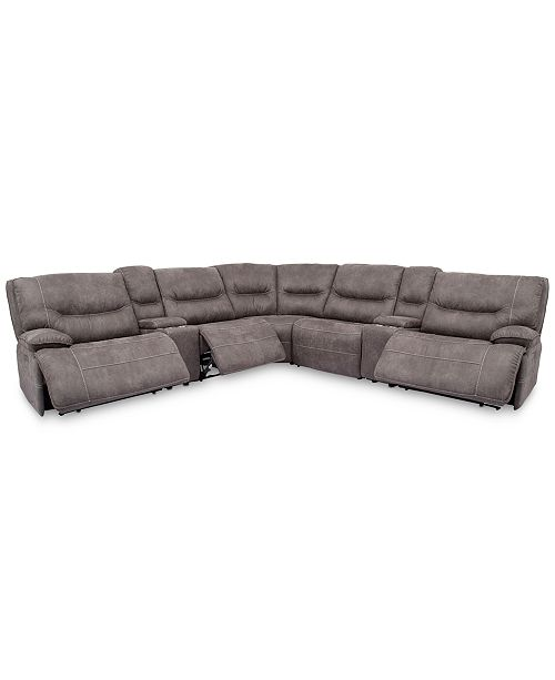 """Furniture Felyx 133"""" 7-Pc. Fabric Sectional Sofa With 3 Power ."""