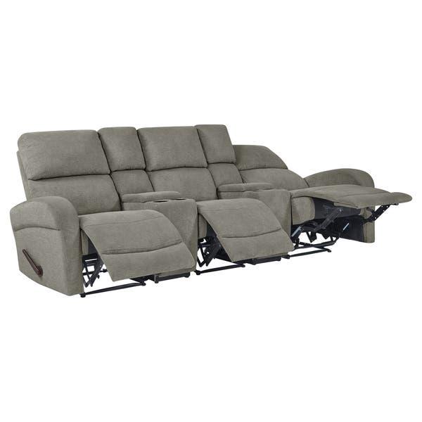 Shop Copper Grove Herentals Grey Chenille 3-seat Recliner Sofa .