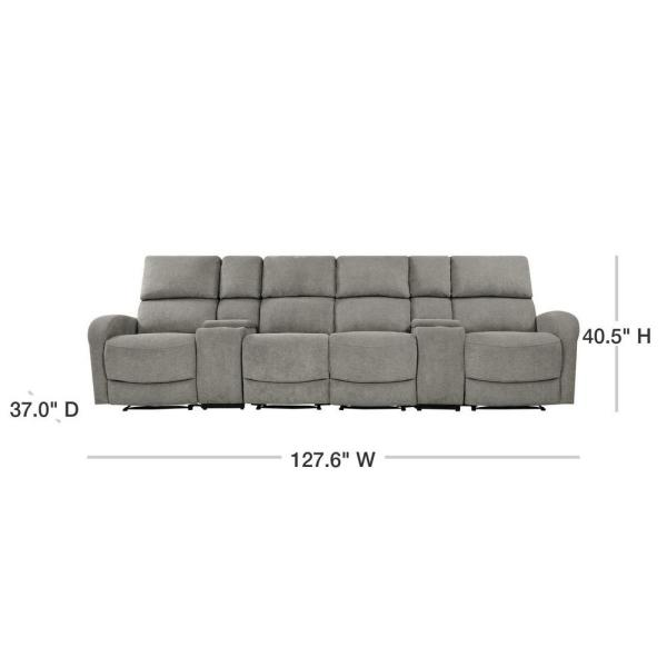 ProLounger Warm Gray Chenille 4-Seat Recliner Sofa with 2-Storage .