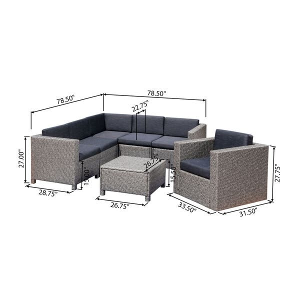 Shop Puerta Grey Wicker V-Shaped Sofa and Swivel Chair Set by .